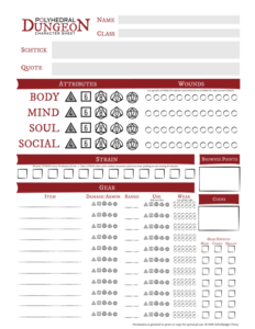 Polyhedral Dungeon Character Sheet (Color) Thumbnail