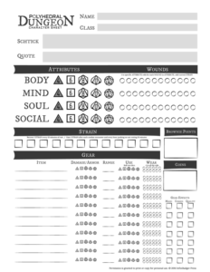 Polyhedral Dungeon Character Sheet (Grayscale) Thumbnail
